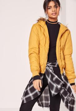 faux-fur-hood-padded-bomber-jacket-yellow
