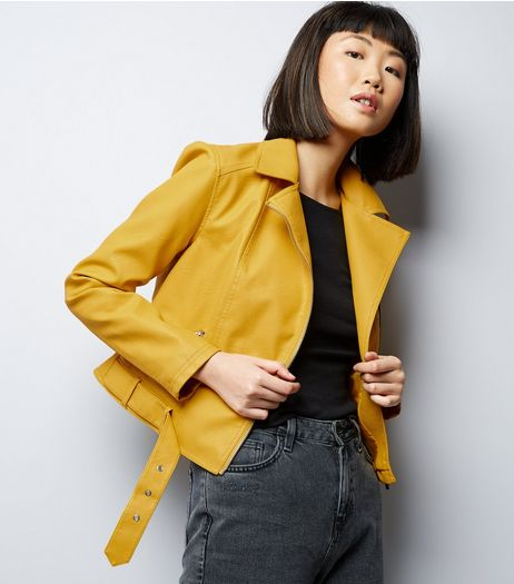 yellow-belted-cropped-leather-look-biker-jacket-